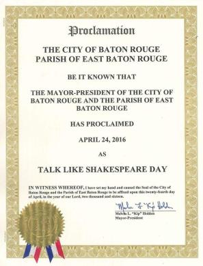Talk Like Shakespeare Day proclamation